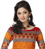 MULTICOLOR PRINTED KURTI WITH RED SALWAR AND NAZNEEN DUPATTA