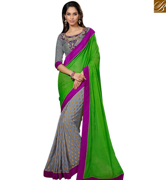 STYLISH BAZAAR FASCINATING HALF AND HALF DESIGNER SARI FOR PARTIES RTSPO11014