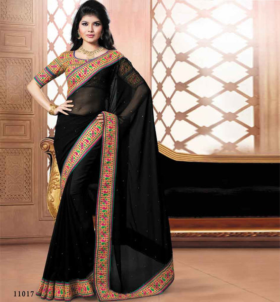 BLACK PARTY WEAR SAREE VDRIW11017