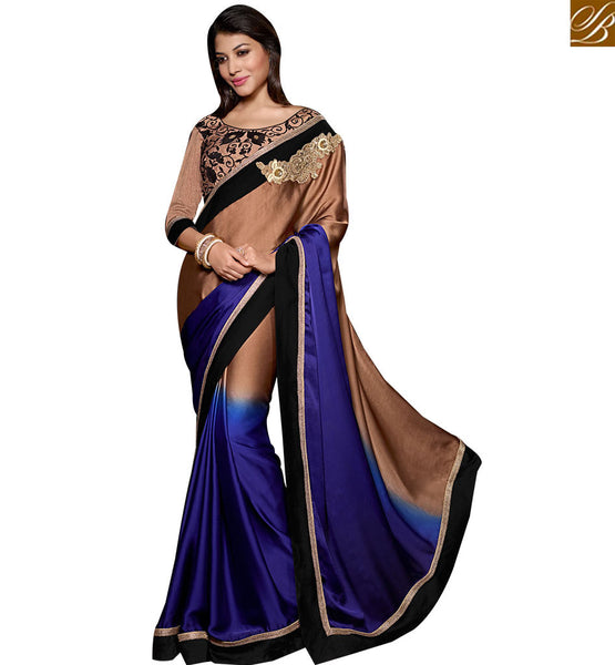 STYLISH BAZAAR MARVELOUS EMBROIDERED HALF AND HALF SARI ONLINE SHOPPING INDIA RTSPO11018