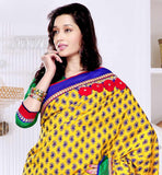 yellow and green printed party wear saree
