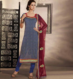 BEAUTIFUL BLUE COTTON PRINTED DRESS MATERIAL RTRAJ1101A