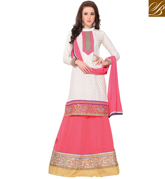 WEDDING WEAR ETHNIC LEHENGA WITH LONG CHOLI OUT-STANDING OFF WHITE LENGHA WITH STYLISH PINK JACKET