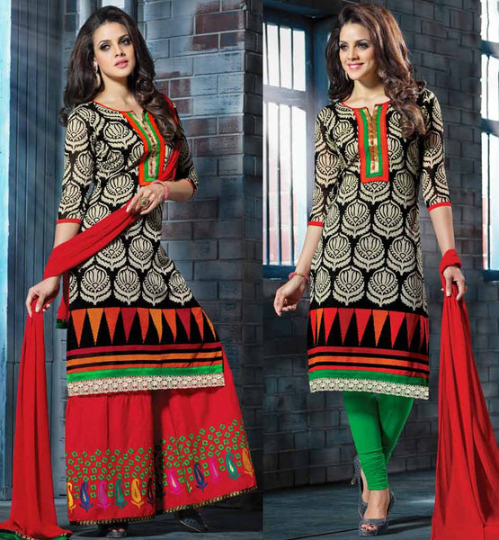 CHANDERI SILK KURTI WITH COTTON LYCRA LEGGINGS & PLAZZO SALWAR