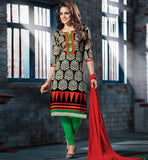black printed kameez with green lycra cotton leggings
