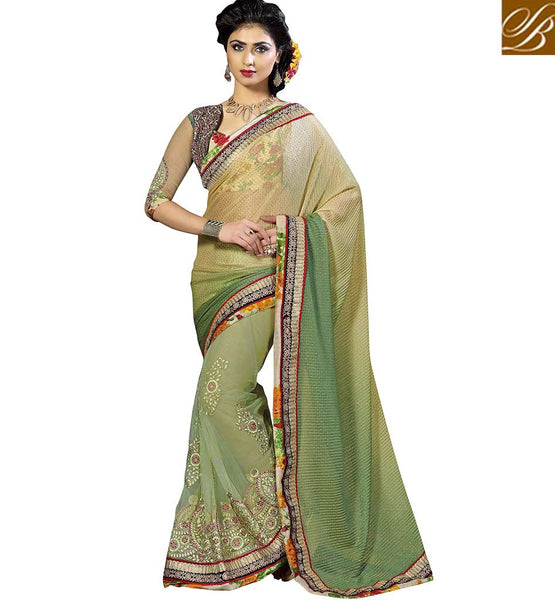 APPEALING DESIGNER SAREE BLOUSE DESIGN VDKET1101 BY CREAM & GREEN