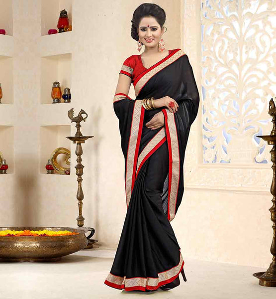INDIAN-SAREE-FASHION-WITH-TRENDY-DESIGNS-FOR-BLOUSES-COLLECTION-BEAUTIFUL-BLACK-SATIN-CHIFFON-FABRIC-SAREE-WITH-RED-PURE-DUPION-BLOUSE