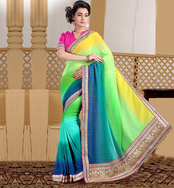 STYLISH BAZAAR INDIAN SAREES BLOUSE DESIGNS MAJESTIC MULTICOLOR MARBLE CHIFFON SAREE WITH PINK DUPION CHOLI
