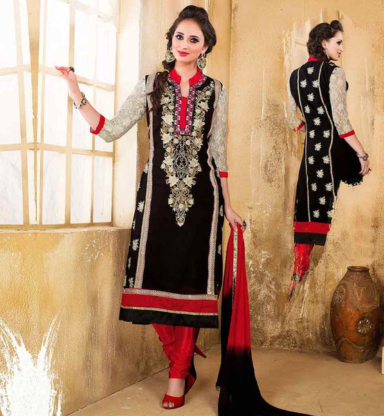 INDIAN SALWAR SUITS ONLINE SHOPPING FOR WOMEN VDDSY1002 STRAGHT CUT BLACK COLOR PARTY WEAR DRESS COMES WITH CONTRAST SALWAR AND SHADED DUPATTA
