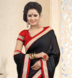 BEAUTIFUL-BLACK-SATIN-CHIFFON-FABRIC-SAREE-WITH-RED-PURE-DUPION-BLOUSE-WHEN-IN-DOUBT-WEAR-BLACK!-THIS-LOVELY-GARMENT-HAS-EXCELLENT-CONTRAST-BORDER-THAT-ENHANCES-THE-LOOK