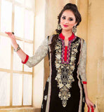 STRAGHT CUT BLACK COLOR PARTY WEAR DRESS COMES WITH CONTRAST SALWAR AND SHADED DUPATTA FAUX GEORGETTE KAMEEZ HAS SANTOON BOTTOM AND NAZNEEN ODHNI WITH SUPERB EMBROIDERY WORK ON NECK  AND BACK