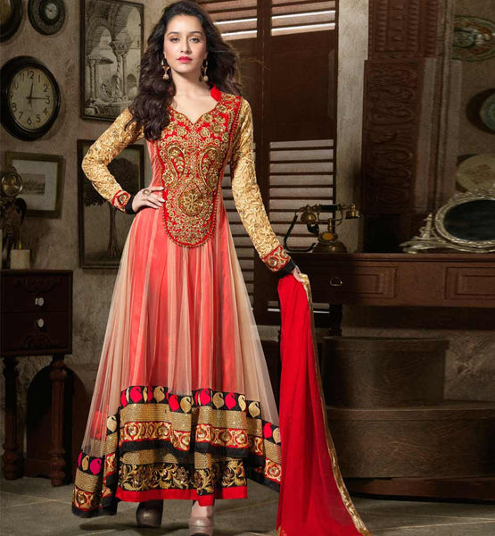 SHRADDHA KAPOOR NET ANARKALI SUIT ANMOL KHWAAB 1102A STYLISHBAZAAR ALL TIME HITS
