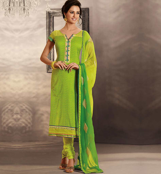 GORGEOUS GREEN COTTON PRINTED DRESS MATERIAL RTRAJ1102B
