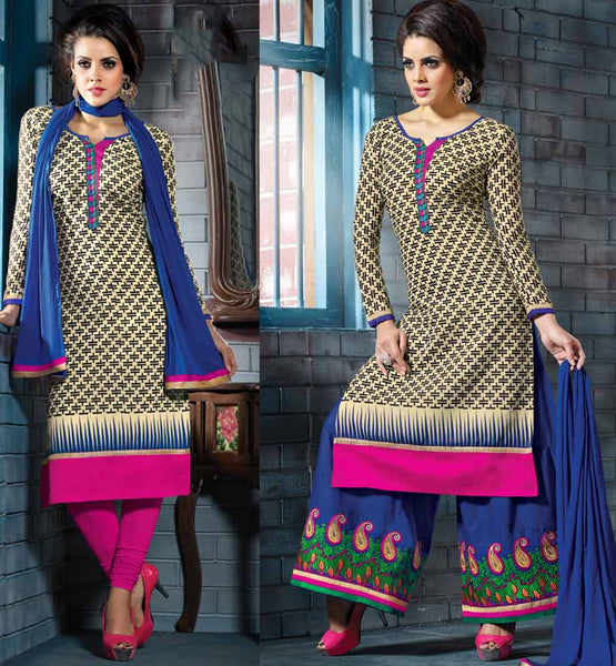 HOT KAMEEZ WITH LYCRA LEGGINGS & COTTON EMBROIDERED PLAZZO SALWAR