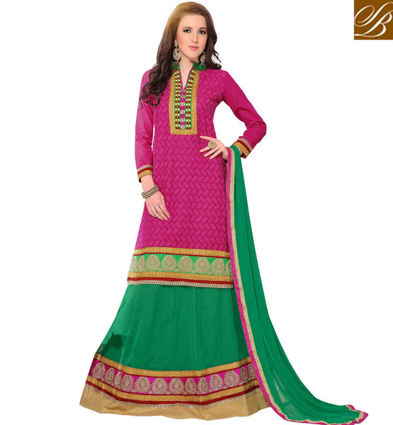 NEW 2015 WEDDING WEAR LEHENGA CHOLI DESIGNS PINK AND GREEN ZARI, RESHAM EMBROIDERED AND LACE BORDER LENGHA SUIT