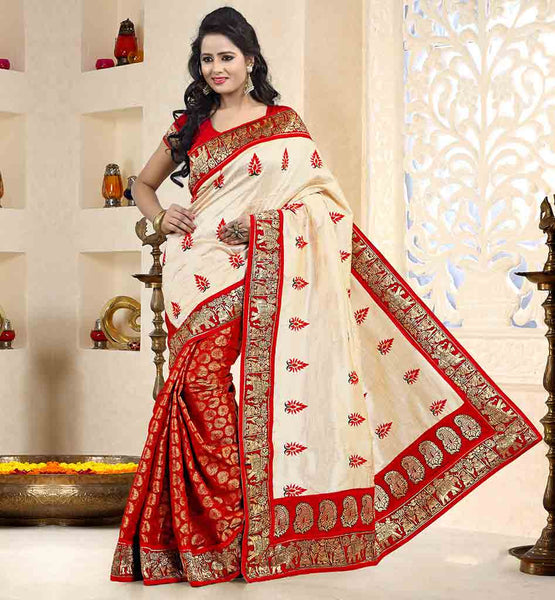 ENGAGEMENT-SAREES-WITH-ULTIMATE-AND-UNIQUE-BLOUSE-STYLES-VDSWR1103-RED-CREAM-ART-SILK-AND-CHANDERI-SILK-DESIGNER-SARI-THAT-HAS-PURE-DUPION-BLOUSE