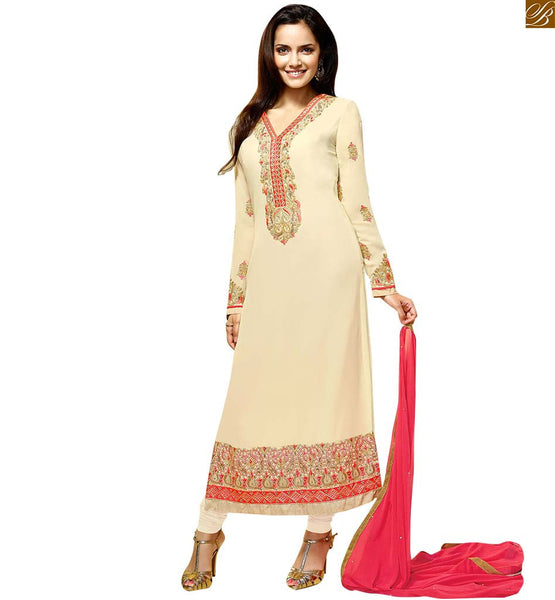 STYLISH BAZAAR BOLLYWOOD HEROINE SHAZAHN PADAMSEE IN DESIGNER CASUAL WEAR SALWAR SUIT ANZAI1103