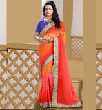 EVER STYLISH LATEST BLOUSE DESIGN FOR SAREE SIZZLING RED AND ORANGE SHADED JACQUARD AND FAUX GEORGETTE SARI WITH BLUE BLOUSE