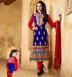 SALWAR SUITS ONLINE SHOPPING FOR ASIAN LADIES VDDSY1003 PARTY WEAR BLUE COLOR STRAGHT CUT KAMEEZ WITH RED SALWAR AND DUPATTA