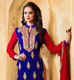 PARTY WEAR BLUE COLOR STRAGHT CUT KAMEEZ WITH RED SALWAR AND DUPATTA THIS SUIT IS COVERED WITH GOLDEN COLOR FLORAL EMBROIDERY PATCH WORK AT NECK LINE & BACK SIDE AND BEIGE COLOR EMBROIDERY BUTTAS ON ALL OVER THE TOP