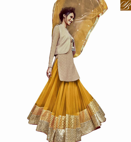 STYLISH BAZAAR MAGNIFICENT BEIGE COLOR SEQUENCE WORK DESIGNER SUIT WITH MUSTARD NET GHAGHRA NKFLB11031