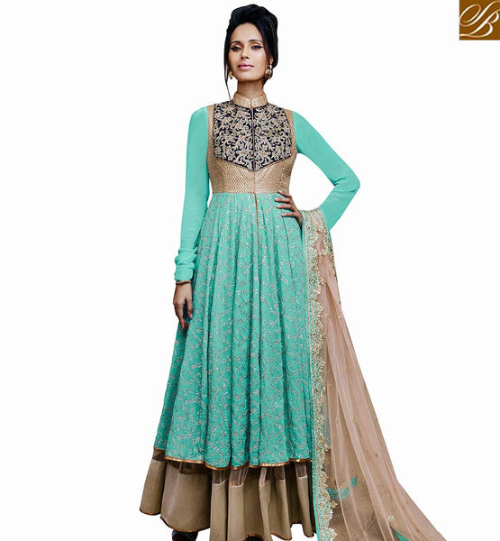 STYLISH BAZAAR GORGEOUS SKY BLUE GEORGETTE HEAVY EMBROIDERED ANARKALI SALWAR KAMEEZ WITH FULL SLEEVES NKFLB11033