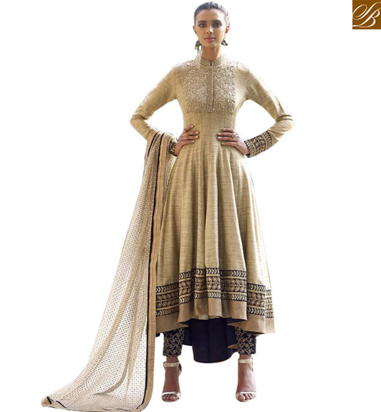 STYLISH BAZAAR PRESENTATION GOOD LOOKING BEIGE EMBROIDERED DESIGNER ANARKALI SUITS NKS11036
