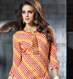 Printed Chanderi silk orange kurti kameez.