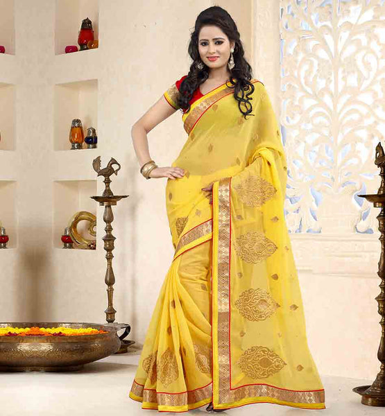 ENGAGEMENT-SAREES-WITH-LATEST-DESIGNS-FOR-BLOUSES-COLLECTION-EYE-CATCHING-YELLOW-CHIFFON-SAREE-WITH-RAVISHING-RED-PURE-DUPION-BLOUSE