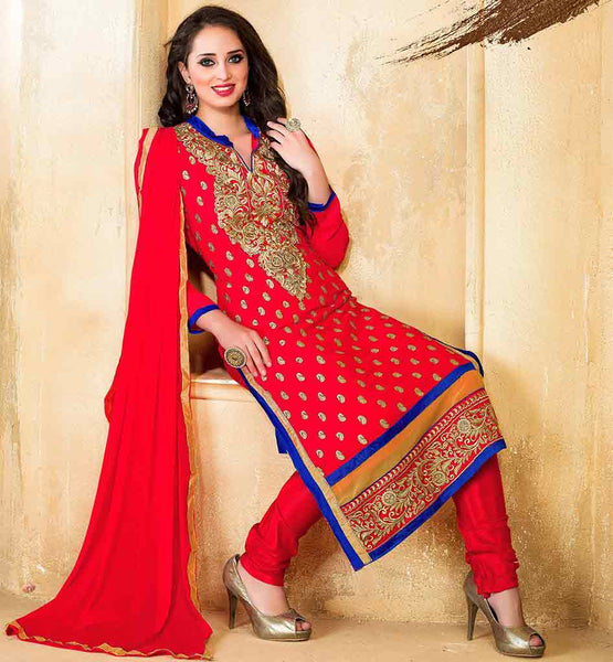 LATEST FASHION WOMEN SUIT ONLINE SHOPPING VDDSY1004 ORANGE STRAIGHT CUT SUIT WITH  SANTOON FABRIC BOTTOM & NAJNEEN FABRIC DUPATTA