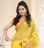 EYE-CATCHING-YELLOW-CHIFFON-SAREE-WITH-RAVISHING-RED-PURE-DUPION-BLOUSE-CREATE-A-LASTING-IMPRESSION-BY-WEARING-THIS-LOVELY-SARI-THAT-HAS-SMALL-AND-LARGE-BUTTAS-ON-IT