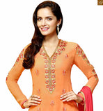 FROM THE  HOUSE OF STYLISH BAZAAR  ORANGE DESIGNER GOERGETTE KARACHI STYLE STRAIGHT SALWAR KAMEEZ ANZAI1104