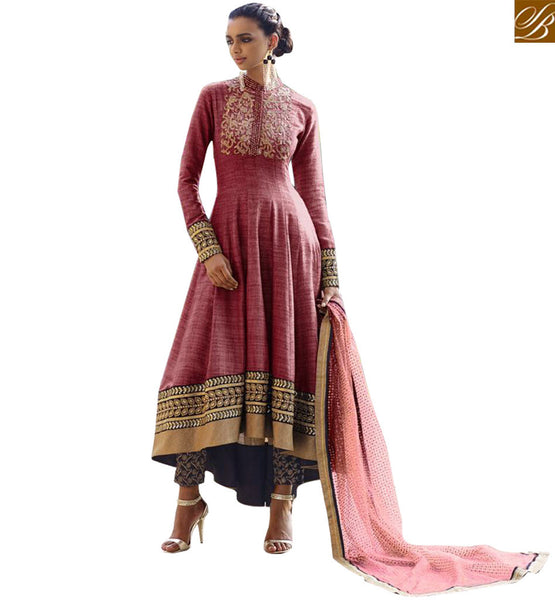 FROM THE HOUSE OF STYLISH BAZAAR GORGEOUS MAROON EMBROIDERED DESIGNER ANARKALI SUITS NKS11042