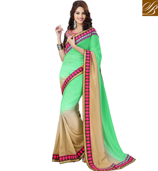 GREEN & CREAM SHADED JACQUARD PARTY WEAR SAREE WITH ART SILK BLOUSE