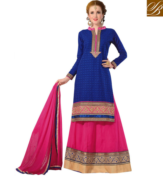 LEHENGA CHOLI DESIGNS FOR WEDDING WITH PRICE BEAUTIFUL BLUE LONG JACKET WITH CONTRAST PINK LENGHA