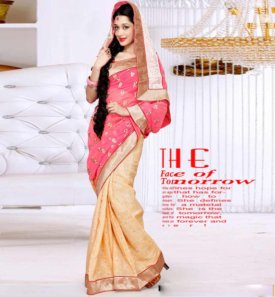 INDIAN PARTY WEAR SAREES ONLINE CHIFFON & KOTA JACQUARD WITH BLOUSE