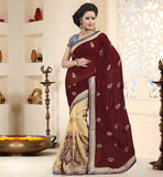 ENGAGEMENT-SAREES-AND-DESIGNER-JACKET-TYPE-BLOUSE-BROWN-AND-CREAM-CHIFFON-SAREE-WITH-CONTRAST-BLUE-PURE-DUPION-BLOUSE