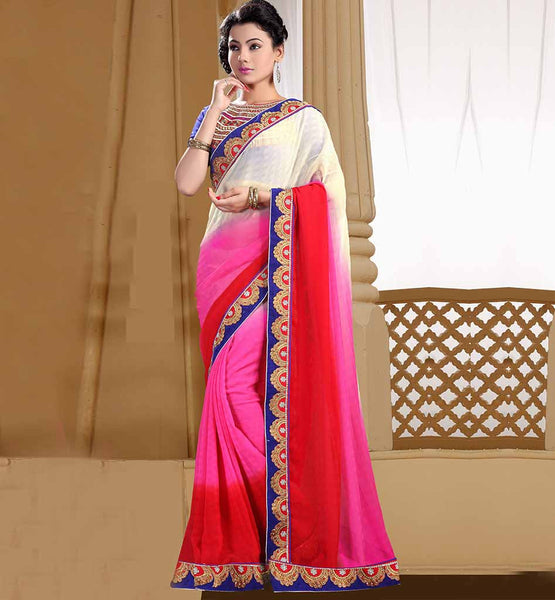 SRILANKAN STYLE DESIGNER SAREES BLOUSE DESIGN OUT-STANDING RED, CREAM AND PINK MARBLE CHIFFON SARI WITH BLUE DUPION BLOUSE