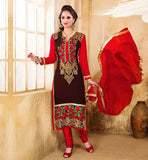 LATEST DESIGNER SALWAR KAMEEZ WITH DUPATTA VDDSY1005 BLACK COLOR SUIT HAS RED COLOR SANTOON FABRIC BOTTOM & NAJNEEN FABRIC DUPATTA