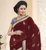 BROWN-AND-CREAM-CHIFFON-SAREE-WITH-CONTRAST-BLUE-PURE-DUPION-BLOUSE-CLASSIC-COMBINATION-OF-COLORS-AND-SMART-EMBROIDERY-PATCH-WORK-ON-THE-SARI