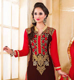 BLACK COLOR SUIT HAS RED COLOR SANTOON FABRIC BOTTOM & NAJNEEN FABRIC DUPATTA This suit featuring of Red & Beige color floral embroidery work at deep neck line and Green & Red color Floral embroidery