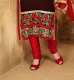 This suit featuring of Red & Beige color floral embroidery work at deep neck line and Green & Red color Floral embroidery work at lower part LATEST DESIGNER SALWAR KAMEEZ WITH DUPATTA VDDSY1005