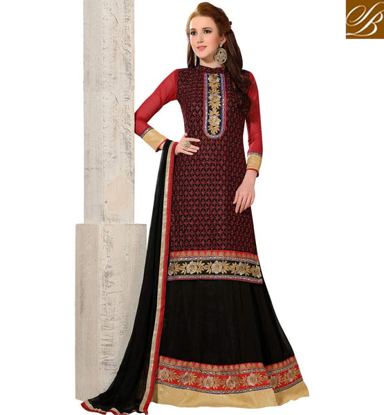 STYLISH LEHENGA CHOLI DESIGNS FOR WEDDING ONLINE MARRIAGE COLLECTION BLACK  EMBROIDERED LEHENGA CHOLI SUIT