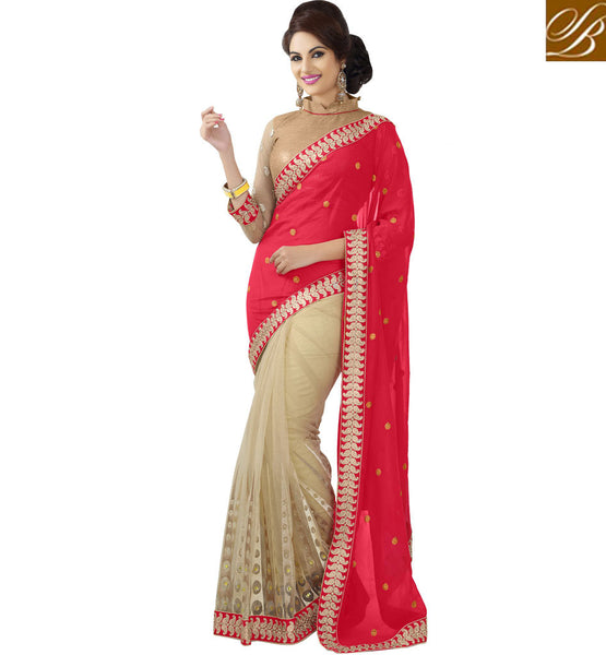 RED & CREAM METALLIC JACQUARD & NET PARTY WEAR SAREE WITH BLOUSE RTMSH1105