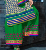 green plazzo salwar with butti style embroidery