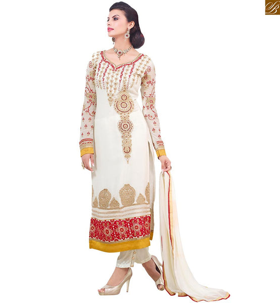 BROUGHT TO YOU BY STYLISH BAZAAR GEORGEOUS OFF WHITE SALWAAR KAMEEZ WITH AMAZING FLORAL DESIGNS VDADI1106