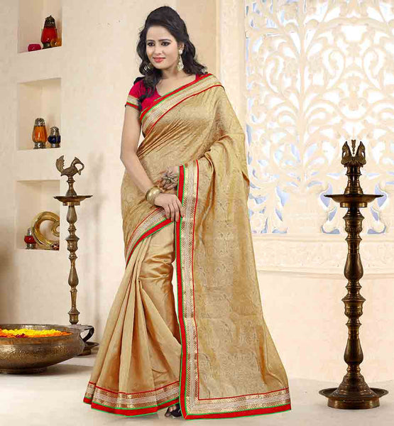 ENGAGEMENT-SAREES-AND-DESIGNER-JACKET-TYPE-BLOUSE-SET-BEIGE-COTTON-JACQUARD-AND-BHAGALPURI-SARI-WITH-RED-PURE-DUPION-BLOUSE