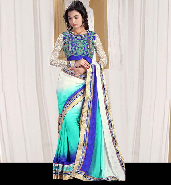 EYE-CATCHING NECK PATTERNS OF SAREE BLOUSE  IRRESISTIBLE OFF-WHITE,  SKY-BLUE AND DARK BLUE SATIN JACQUARD SARI WITH DUPION BLOUSE