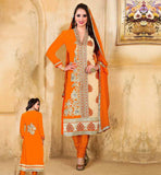 STYLISH INDIAN SALWAR KAMEEZ ONLINE SHOPPING VDDSY1006 ORANGE & BEIGE COLOR DRESS WITH SANTOON FABRIC BOTTOM & NAJNEEN FABRIC DUPATTA