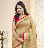 BEIGE-COTTON-JACQUARD-AND-BHAGALPURI-SARI-WITH-RED-PURE-DUPION-BLOUSE-SHOWCASE-YOUR-GLAMOROUS-SIDE-WITH-A-TOUCH-OF-SIMPLICITY-AND-ELEGANCE